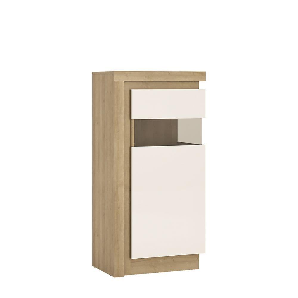 Metropolis Narrow display cabinet (RHD) 123.6cm high (includes LEDs) in Riviera Oak/White high gloss